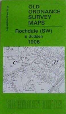 OLD ORDNANCE SURVEY MAP ROCHDALE WEST 1908 MANCHESTER ROAD SPOTLAND BRIDGE