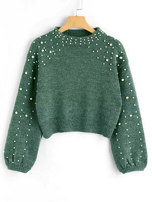 Lady Women Sweater Pullover Knit Tops Mock Neck Faux Pearl Long Sleeve Casual