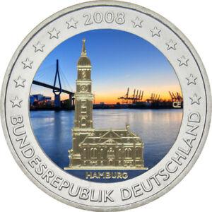2-Euro-Gedenkmuenze-BRD-Deutschland-2008-H-Michel-coloriert-Farbe-Farbmuenze
