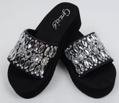 Grazie Sandal Slide Jeweled Jambeau Bling Black Leather Upper Wedge Shoes 6-11