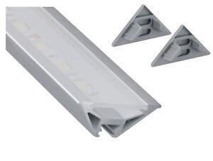 Aluminium-Aufbau-Ecke-Profil-Eckprofil-2m-Abdeckung-Endkappe-fuer-LED-Band