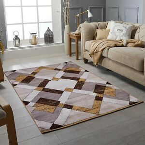 Details About Mustard Modern Area Rug Luxurious Thick Carved Soft Heavy Large Floor Mat Uk