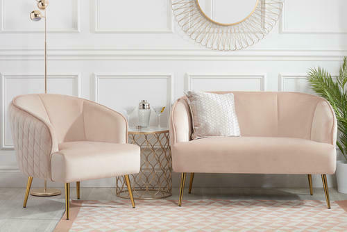 Baby Pink Velvet Small 2 Seater Sofa Tub Couch Settee Armchair with Metal Legs