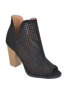 black ankle booties open toe