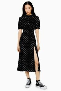 Ex-TOPSHOP-Black-Conversational-Print-Midi-Dress-UK-12-US-8-EUR-40-TS4-13
