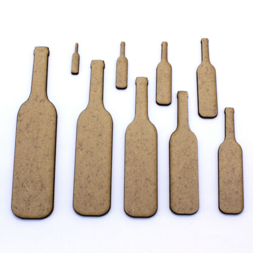Embellishments 2mm MDF Wood Wine Bottle Craft Shapes Tags Decorations