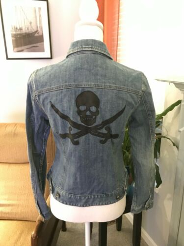 Wblack Concepts Jakke Lt Kvinder Leather S Denim Detail Inc International Skull 5ZqgaxaY