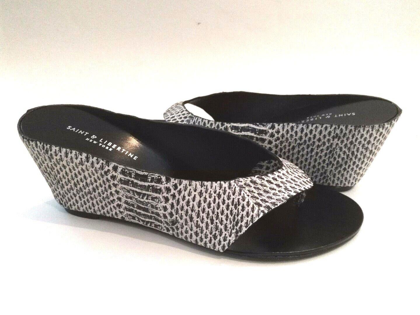 NEU  Saint & Libertine/Ivy Kirzhner PRINCE Wedge Leder Sandale Mule BLACK 225