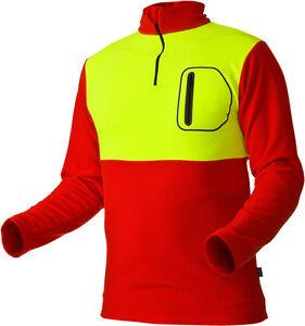 PFANNER-Husky-Shirt-langarm-Fleeceshirt-fuer-kalte-Verhaeltnisse-rot-neongelb-Gr-S