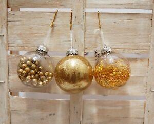 Decorazioni Natalizie Dorate.Dettagli Su 3 Sfere Albero Natale Diametro 6 Decorazioni Infrangibili Oro Dorate Natalizie