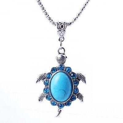 Cute turquoise blue turtle stone pendant rhinestone Tibet silver chain necklace