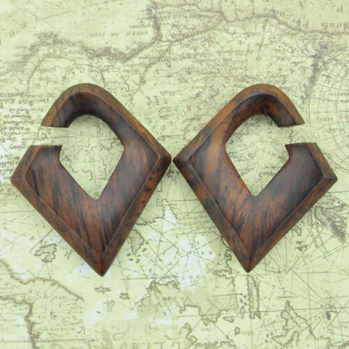 Narra Wood Diamond Shaped Hangers Ear Gauges