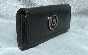 ad881677d52e Image is loading Michael-Kors-Fulton-Black-Patent-Leather-Continental-Wallet -