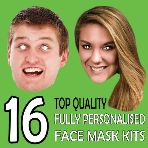 16 fai da te personalizzato Viso Mask KIT Stag Do Hen Night Party Fascia Compleanno Divertente
