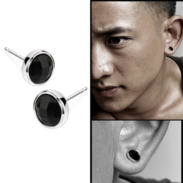 Fashion 1pair Mens Round Black Agate Silver Ear Studs Earrings Uni Jewelry Kj