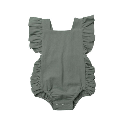 Newborn Baby Girl Ruffle Solid Color Romper Bodysuit Jumpsuit Outfit Sunsuit Hot