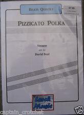 PIZZICATO POLKA  - Brass Quintet Sheet Music Score & Parts NEW