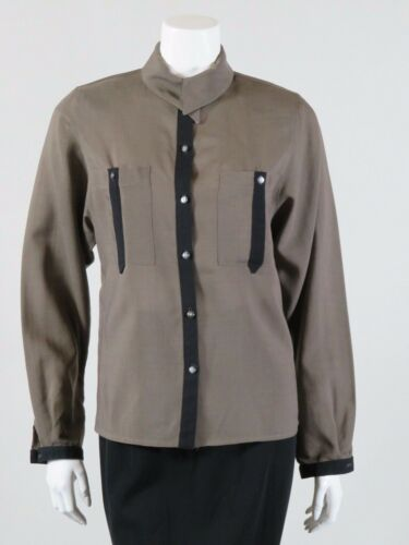 CACHE D'OR c. 1990s TAUPE & BLACK BLOUSE