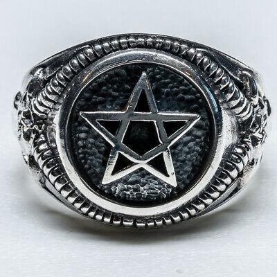 Ehrlich Pentagram Goat Ring 925 Silver Celtic Pagan Biker Wiccan Wicca Feeanddave Wir Haben Lob Von Kunden Gewonnen