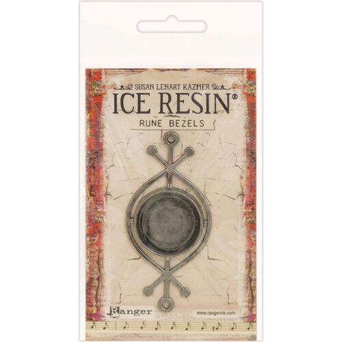 Ice Resin Rune Bezel Round-antique Silver