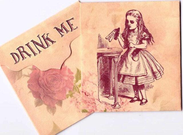 Vintage inspired Alice in Wonderland drink me tea bag envelope party favor set 6