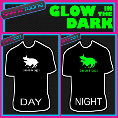 BACON AND EGGS MENS FUNNY SLOGAN GLOW IN THE DARK PRINTED TSHIRT