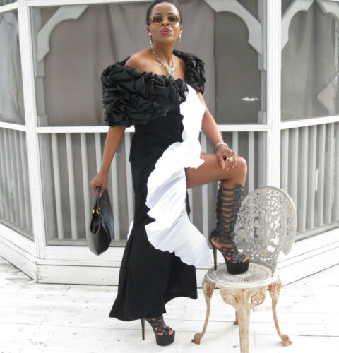 Design s 4 Kleid schwarz fließende ungewöhnliche gekräuselte langen Mantel 0 Xs Designer Kleid qfw4Iv7v