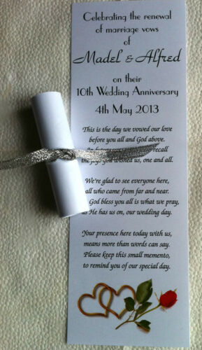 5 poems /& 5 styles 100 Personalised Wedding Favour Scrolls with Organza Ribbon