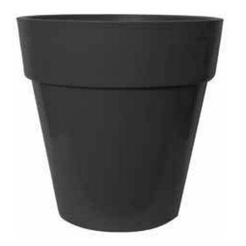 2 X 36l Black Large Round Plant Pots Outdoor Garden Tall Plastic Planters