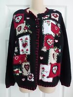 Womens Valentines Day Sweater Cardigan Sz. L Hearts Heirloom Collectibles