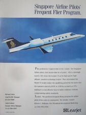3/1992 PUB BOMBARDIER LEARJET 31 SIA SINGAPORE AIRLINES PILOT TRAINER AD
