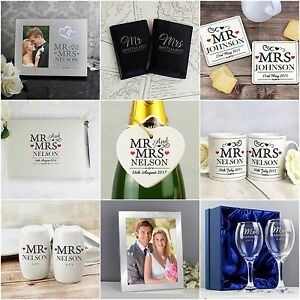 Personalised Mr Mrs Wedding Day Gift Ideas Present For Bride