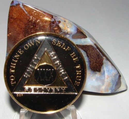 Black Alcoholics Anonymous AA 30 Year Medallion Token Coin Chip Sobrity Sober