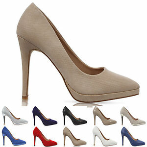 a421e8ba4cf Details about WOMENS LADIES POINTED STILETTO HIGH HEEL PLATFORM COURT SHOES  SIZE UK 3-8