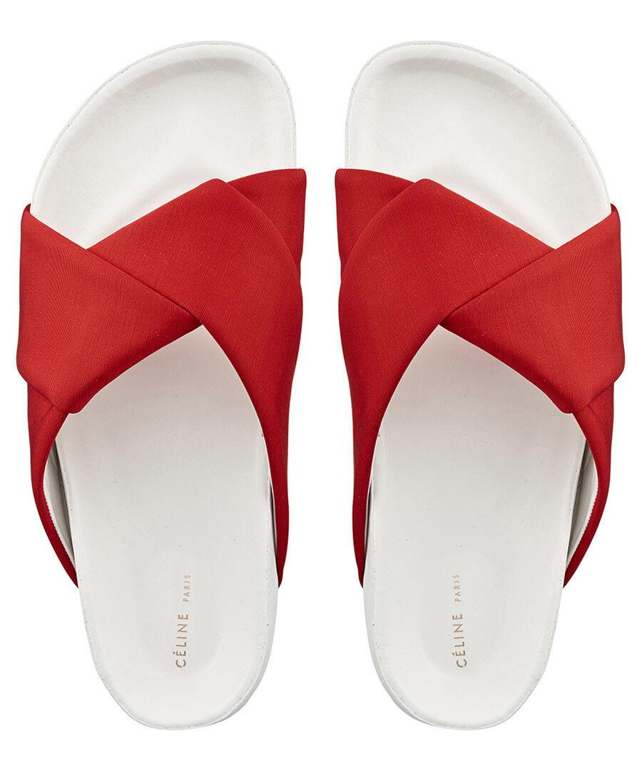 Celine Origami Twist Red White Slide Sandals Sliders shoes BNIB UK 5 EU 38