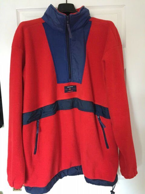 HELLY HANSEN VINTAGE FLEECE JUMPER YACHTING BOATING TOP MENS SIZE M / L RED