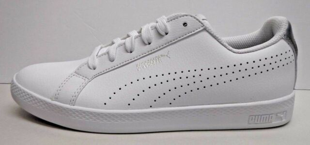 ab9f2858ae19 PUMA Womens Smash Wns Perf MET SNEAKERS White Silver Size 7 for sale ...