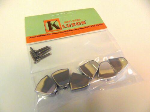 SET OF 6 KLUSON REVOLUTION KRTMB04C KEYSTONE BUTTONS CHROME w //MOUNTING SCREWS