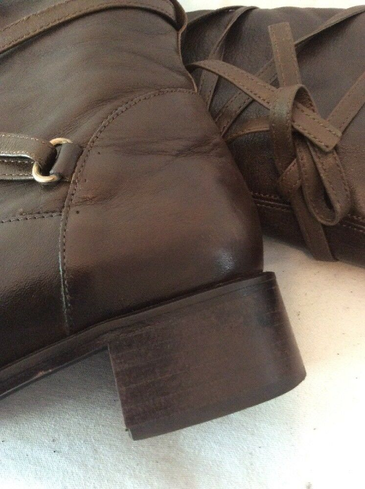 Russell&Bromley Dark marron Knee Knee Knee High Leather bottes Taille 36.5 397792