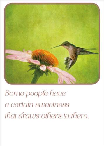 RSVP Hummingbird  Orange and Pink Flower Birthday Card