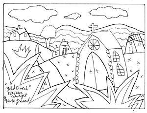 RUG HOOK CRAFT PAPER PATTERN Gold Church FOLK ART PRIMITIVE Karla Gerard