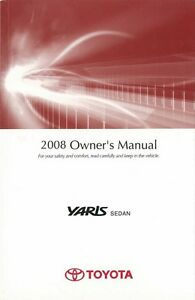2008 toyota yaris sedan owners manual user guide reference operator rh ebay com 2008 toyota yaris owners manual pdf 2007 yaris owners manual pdf