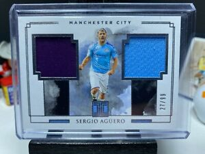 2019-20 Panini Impeccable Soccer SERGIO AGUERO Dual Match Worn Patch 27/99