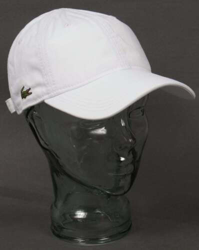 Ajustable Lacoste De Gabardina Gorra de béisbol en blanco-Sombrero De Pico Curvo