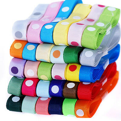 "30 yards Polka dotty colorful 3/8"" 9mm Scrapbooking Hair grosgrain ribbon"