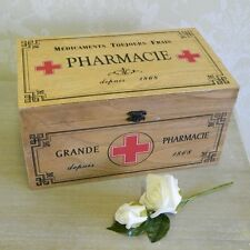 Wooden Pharmacy Box Vintage First Aid Rustic Home Accessory Storage Bathroom