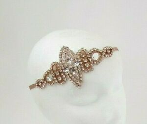 Rose-Gold-Silver-Diamante-Headband-1920s-Great-Gatsby-Flapper-Headpiece-Vtg-7127