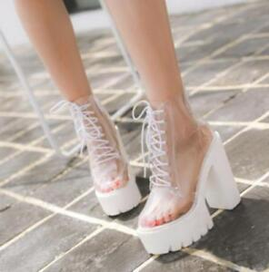 clear women's lace up transparent ankle boots creeper