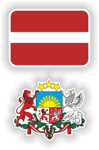 Escudo De Armas 2x Stickers Calcomanías karogs Latvia Bandera