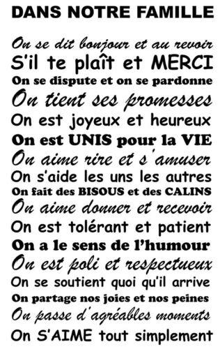 """Sticker Décoration Texte /""""DANS NOTRE FAMILLE.. ON S/'AIME/"""" 50x30cm à 100x60cm"""